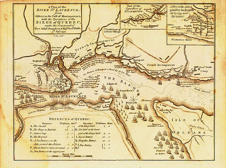 "A contemporary ""composite"" map of the siege of Quebec 1759, showing the camps and batteries established over a four month period as well as the final battle on 13 September 1759."