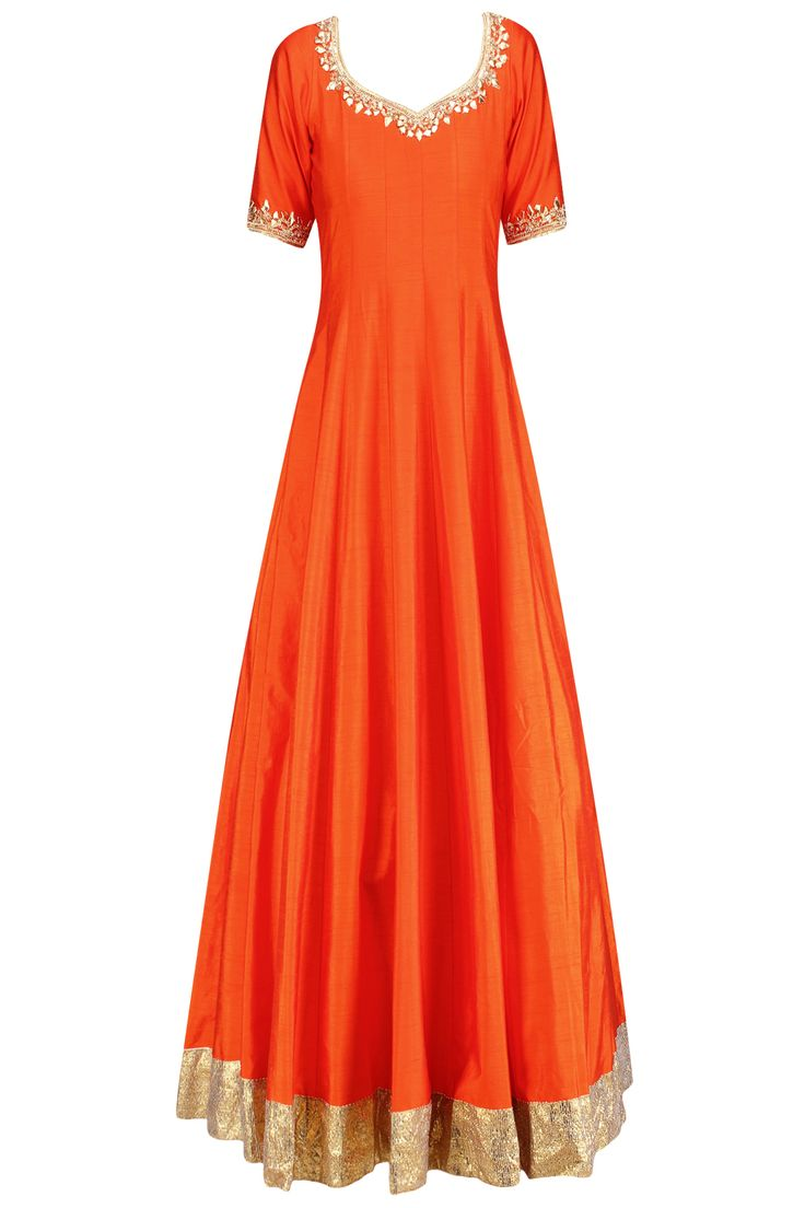 Orange gota patti and sequins embroidered anarkali set available only at Pernia's Pop Up Shop.