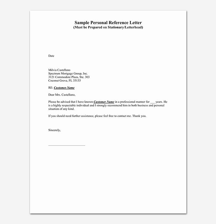 Character Reference Letter For Student Personal Reference Letter Reference Letter Writing A Reference Letter