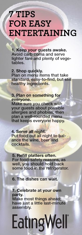 Here are seven EatingWell tips to make your party a success. (We make no promises about Aunt Matilda.)