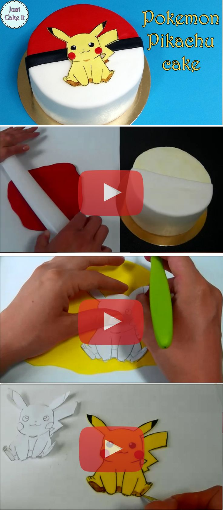 Pokemon pikachu cake tutorial, step by step how to make it from fondant. Watch it here https://www.youtube.com/watch?v=39yh05ZGMy8