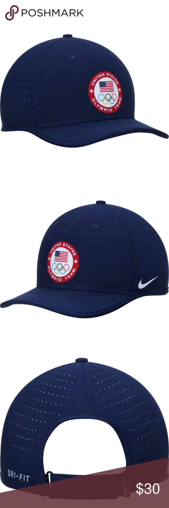 Nike Navy Team USA Performance Adjustable Hat NWT. Men's Nike Navy Team USA Classic Performance Adjustable Hat. Material: 100% Polyester High Crown Structured fit Flat bill Adjustable hook and loop fastener strap Dri-FIT ® technology wicks away moisture Four perforated side and back panels Heat-sealed graphics Two front panels with eyelets One size fits most Wipe clean with a damp cloth, lay flat to dry. Do not iron. Officially licensed Imported Brand: Nike Nike Accessories Hats