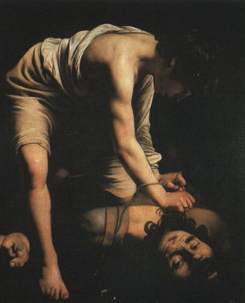 Caravaggio 1573 – 1610     David with the Head of Goliath (1601/02)     oil on canvas (110 × 91 cm) — c. 1601/02 Museo del Prado, Madrid     Caravaggio biography     This work is linked to 1 Samuel 17:51