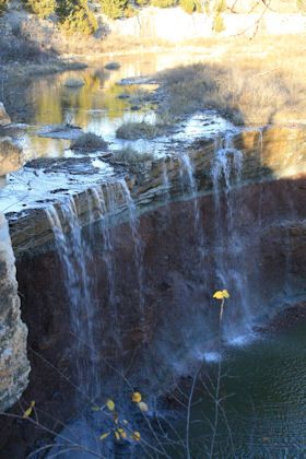 Cowley County Lake Waterfalls, East of Arkansas City, Kansas