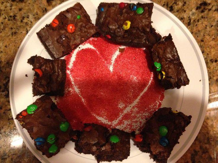 M&M Brownies #Valentine'sDay #WithLove