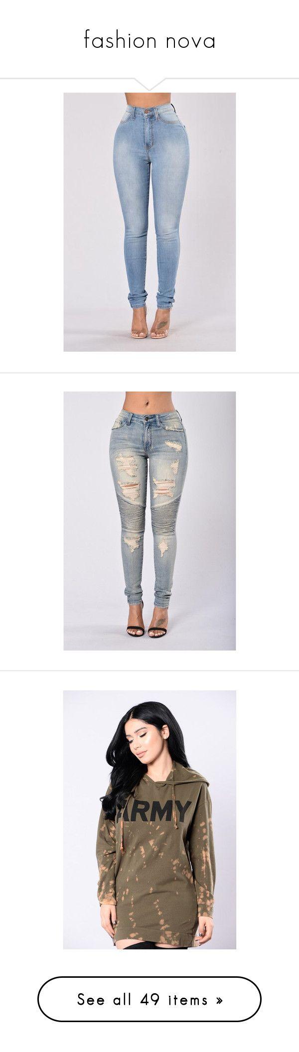 """fashion nova"" by carlinsaige ❤ liked on Polyvore featuring jeans, pants, fashion nova, bottoms, blue skinny jeans, light blue high waisted jeans, high rise skinny jeans, light blue skinny jeans, denim skinny jeans and tops"