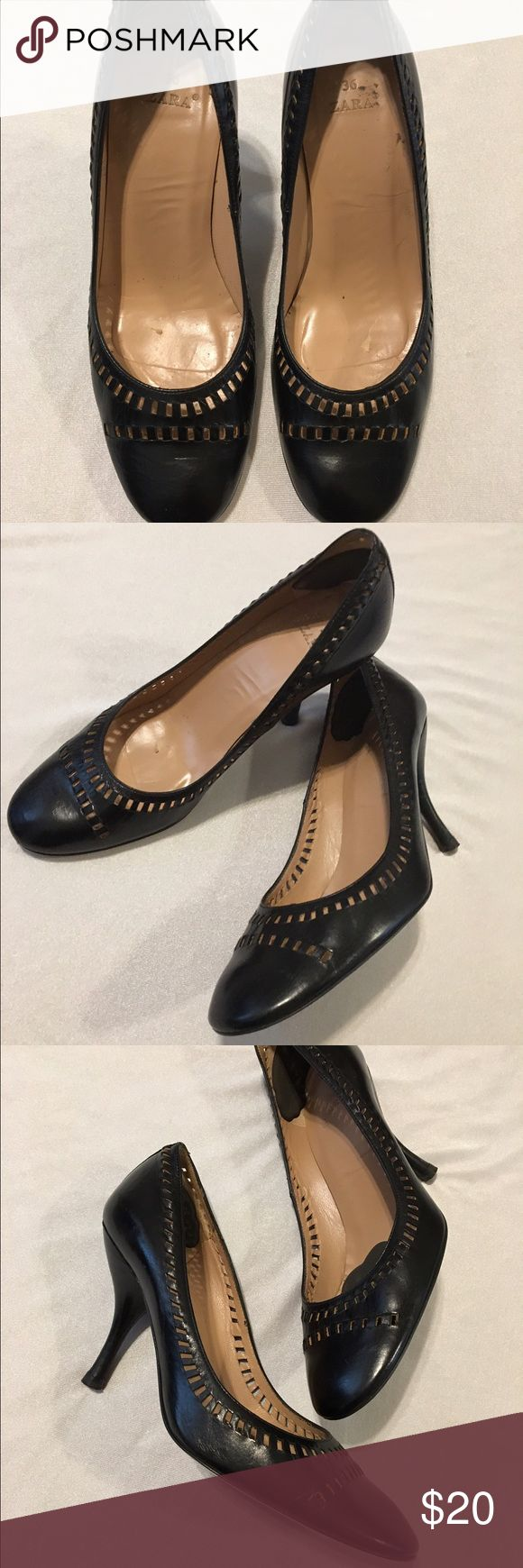 Zara black perforated leather vintage pumps. Vintage black pumps by Zara, made in Spain. Size 36. Perforated design around shoe opening and across toe front. Slightly used, good condition. Zara Shoes Heels