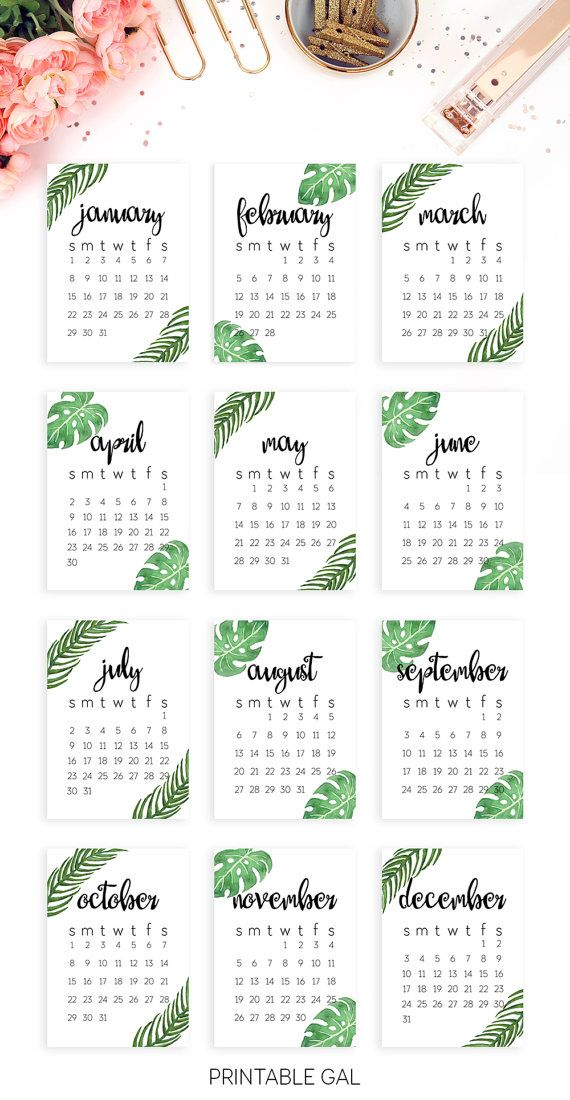 2017 Calendar Printable : Start the new year off right with this tropical, minimalist 2017 printable calendar!