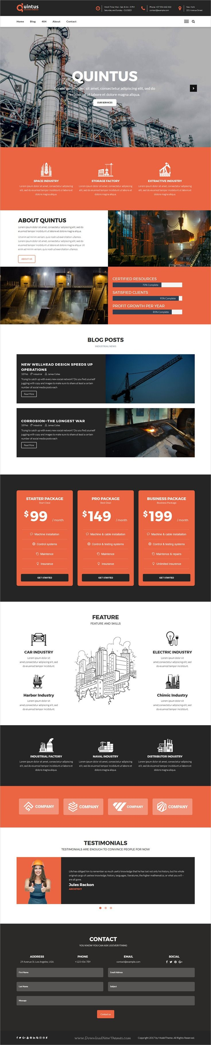 Quintus is clean and modern design responsive #HTML5 template for #industry #factory or #engineering company website download now..