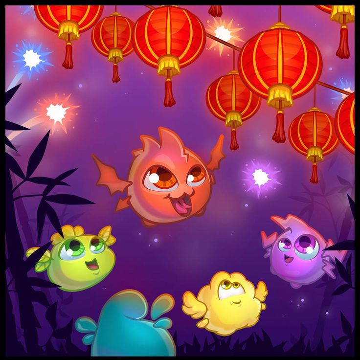 Monsters admiring Chinese lanterns // Concept art