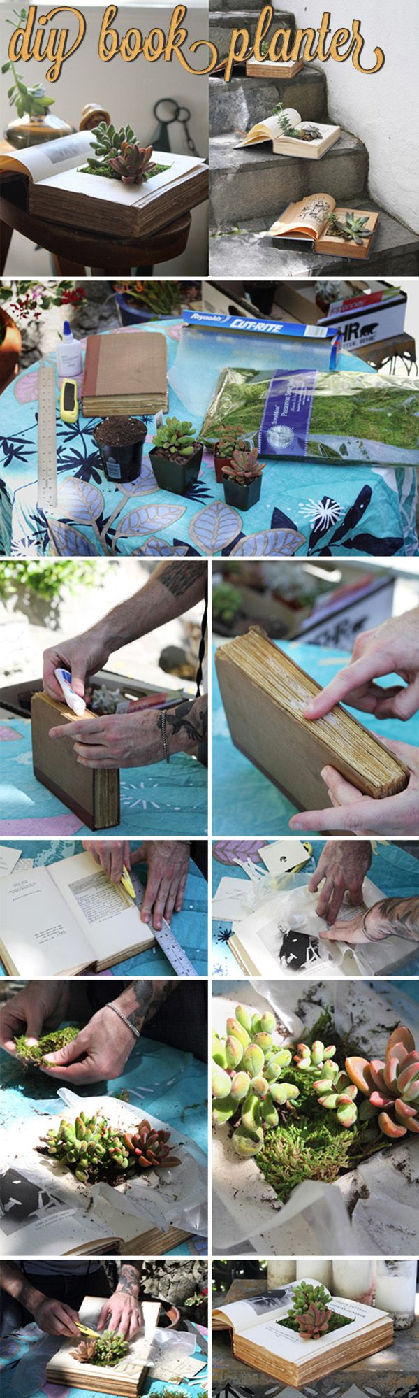 DIY INDOOR GARDEN / BOOK CRAFTS :: DIY Book Planter :: Materials: 1 book, parchment paper/plastic bag, white glue or Mod-Podge :: TIPS: The night before, rub some glue or MP on the edges of the pages to help when cutting. After cutting, rub some glue or MP on the inside of the pages where you've cut out to seal. Try cutting to the size of a tofu tub & using that as lining instead of parchment or plastic. For succulents, mix sand in the soil & plant larger ones in the corners for support.