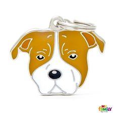 Show details for White and Brown Staffordshire Dog Tag Free engraving  www.myfamily.it