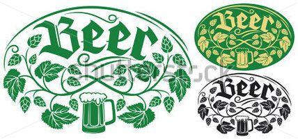 diseño de etiquetas de cerveza (diseño de la hoja de lúpulo, lúpulo planta, símbolo de salto, salto hojas, sucursal salto, símbolo de cerveza, jarra de cerveza)