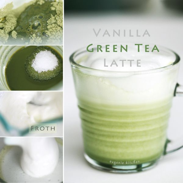 Vanilla Green Tea Latte Recipe- i want to try with almond milk, and agave instead of sugar