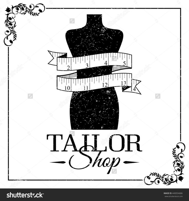 Sewing Supplies - Mannequin And Tape Measure. Black And White Logo Or Black-And-White Banner. Using Vintage Frame And Grunge Texture. Tailor Shop Banner Стоковая векторная иллюстрация 440054686 : Shutterstock