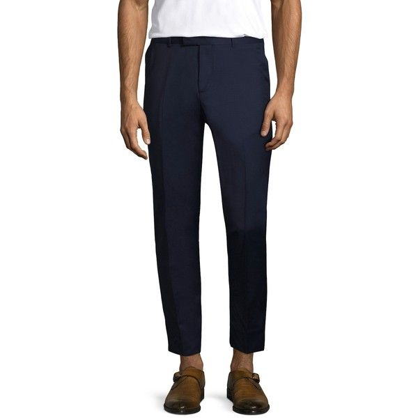 The Kooples Men's Ink Wool Trousers - Blue, Size 46 ($109) ❤ liked on Polyvore featuring men's fashion, men's clothing, men's pants, blue, mens zipper pants, mens casual wool pants, mens blue pants, mens pants and mens wool pants