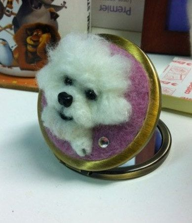 Needle wool felt puppy portraits on the shells by KathycCollection
