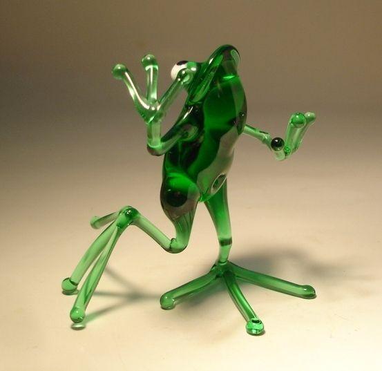 """Выдувное стекло """"Мурано"""" Искусство животных Статуэтка Зеленый Танцы лягушка:"""