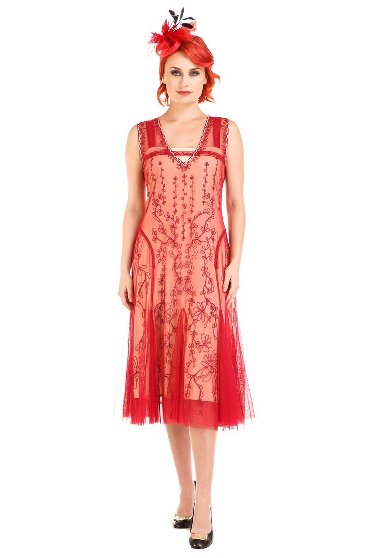 Jackie 1920s Flapper Style Dress in Cherry by Nataya | Vintage Informal Wedding Dresses & Romantic Gowns | Mother of the Bride or Groom Dresses | Second Wedding Dresses | Vintage Inspired Plus Size Gowns | Age of Love