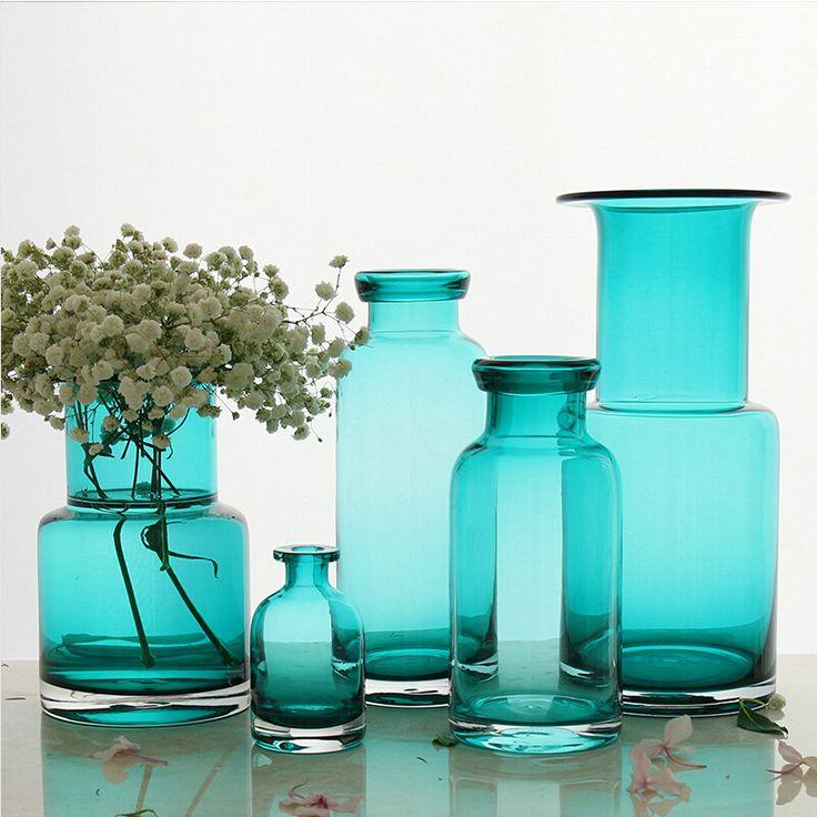 Бесплатная доставка гарантировано 100% средиземноморском стиле широким горлом стеклянные вазы большие вазы для цветов синие вазы decoratives купить на AliExpress