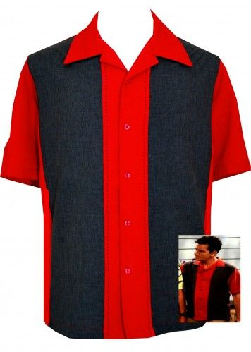 Mens Red Charcoal Panel Button Up Retro Bowling Shirt