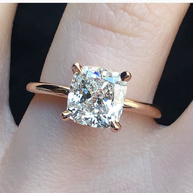 PERFECT- plain rose gold band with solitaire cushion cut