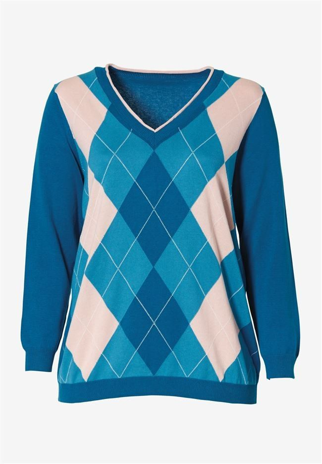 ellos Womens Plus Size V-Neck Argyle Sweater