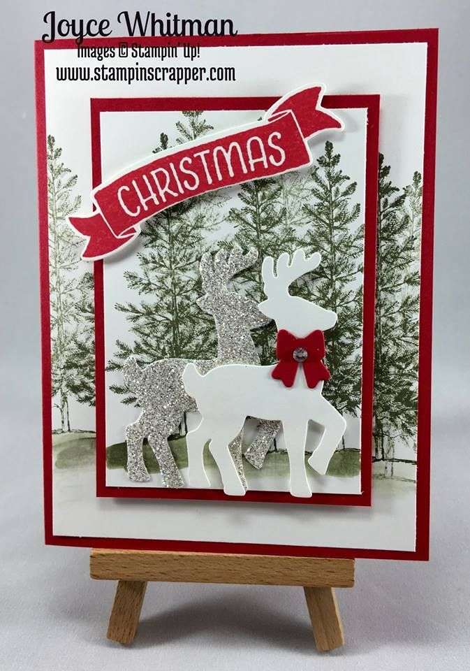 2016 Lovely as a Tree Christmas Card Created by Joyce Maslowski Whitman Used stamp set Lovely As A Tree Clear-Mount Stamp Set 127793 Price: $20.00 Dies Santa's Sleigh Dies Thinlits 140278 Price: $30.00 Ink used Always Artichoke.