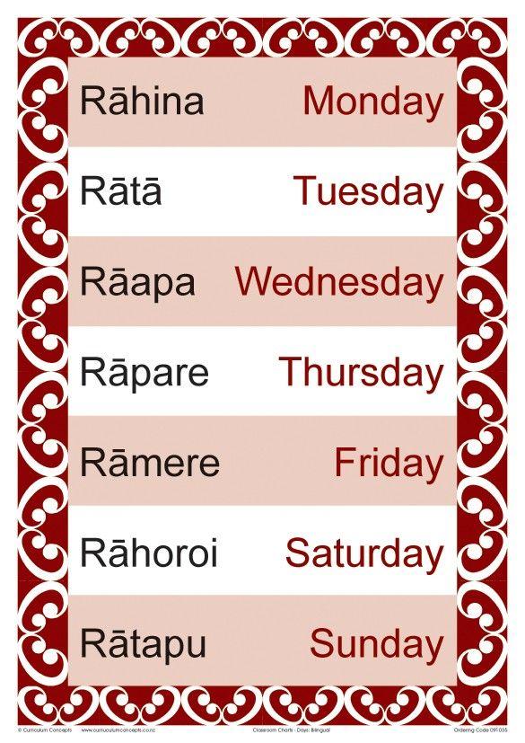 Days of the Week Bilingual Chart   Te Reo Maori Resources