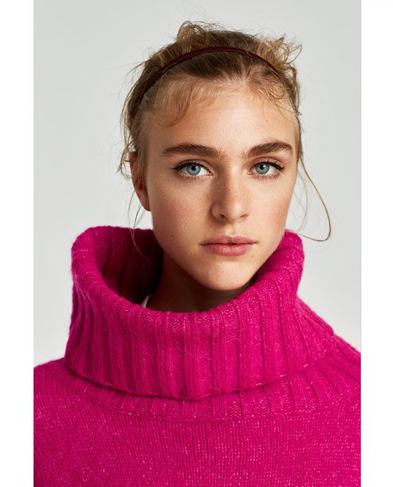 Image 6 of ROLL NECK SWEATER WITH TEXTURED POCKETS from Zara