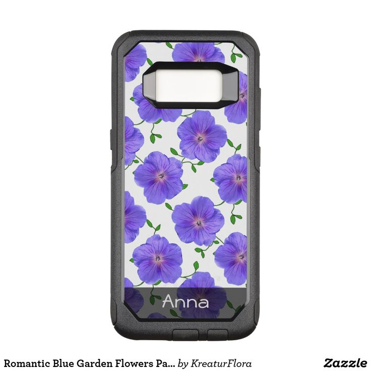 Romantic Blue Garden Flowers Pattern any Text