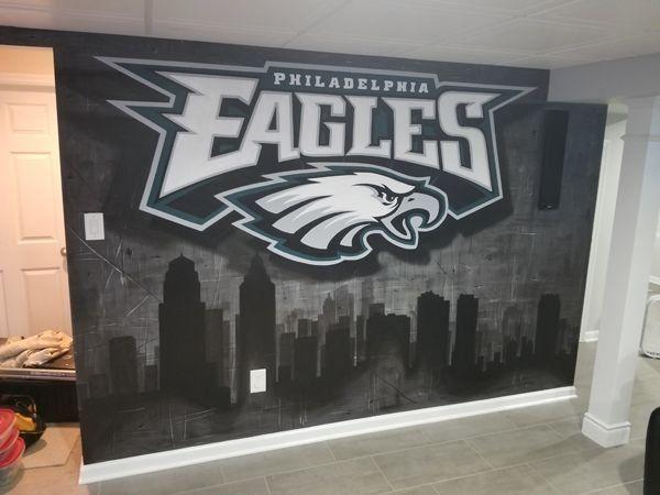 Eagles Mural Philadelphia Eagles Man Cave Decor Eagles Decor Hand Painted 1000 Philadelphia Eagles Man Cave Eagles Man Cave Ideas Man Cave Design