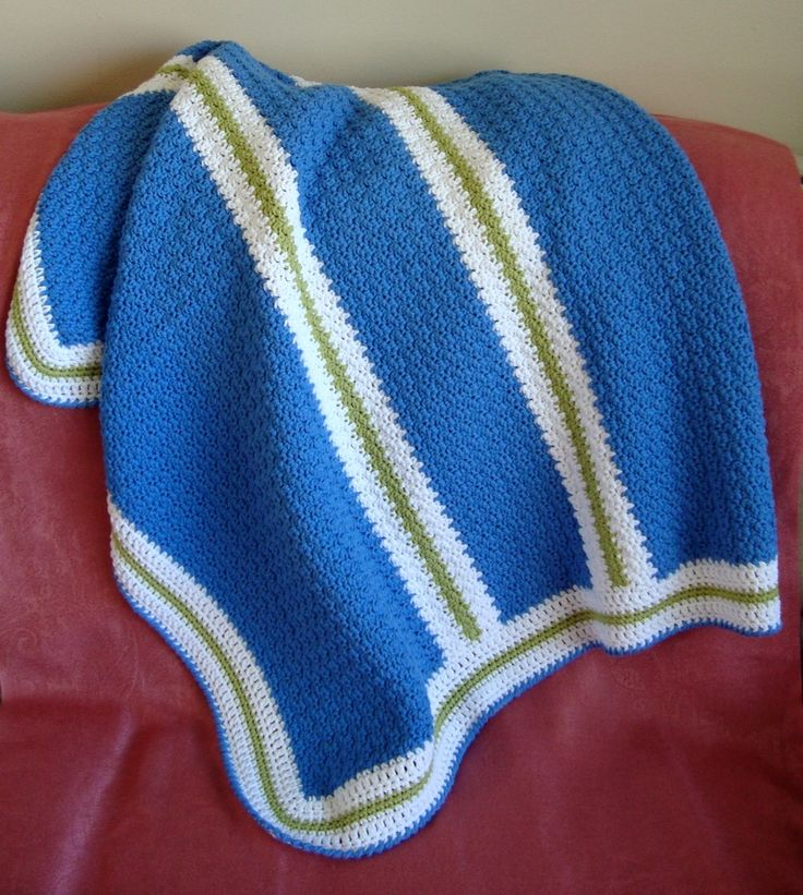 Color Blocked Stripes Baby Blanket - CAP's Crochet & Crafts