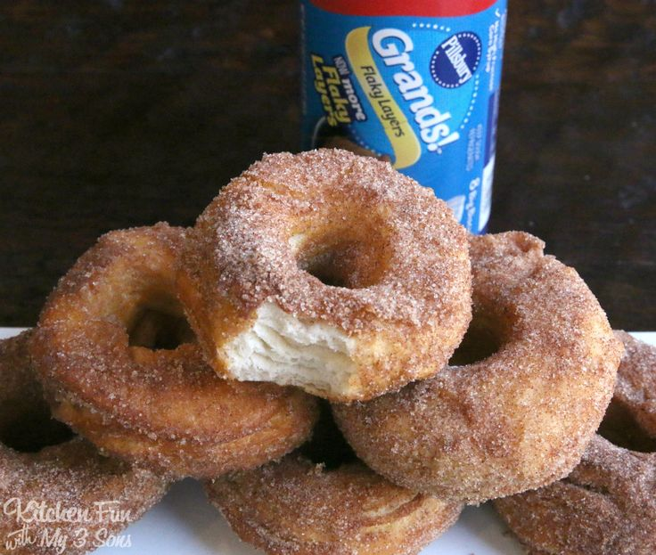 These canned Biscuit Donuts are so easy to make and are melt in your mouth good! Also a fun breakfast treat that the kids will love to help make.