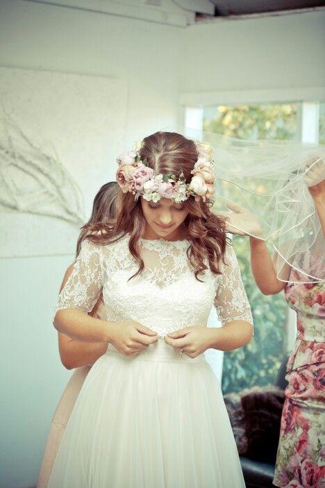 Flower crown, wedding, caleche dress