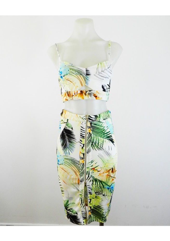 Summer Crop And Skirt Set, Palm Print, Cut Out Top & Two Way Zip by Ava
