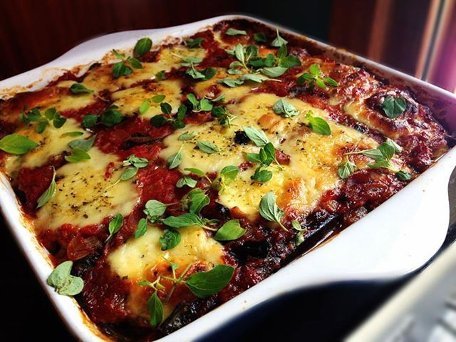 Cheesy Eggplant, Spinach and Mushroom Bake