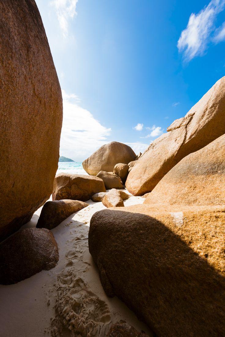 roks in the ocean beach, seychelles island