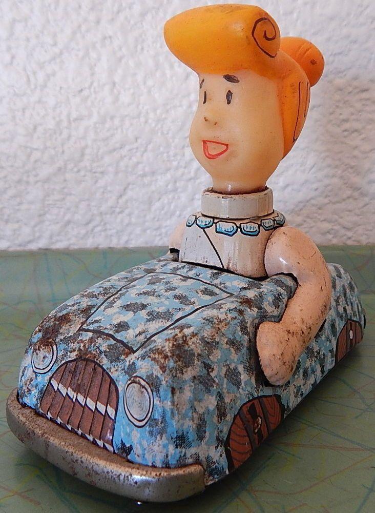 1962 Wilma Flintstone in her Tin Friction Car Flintstones Marx Hanna-Barbera    eBay