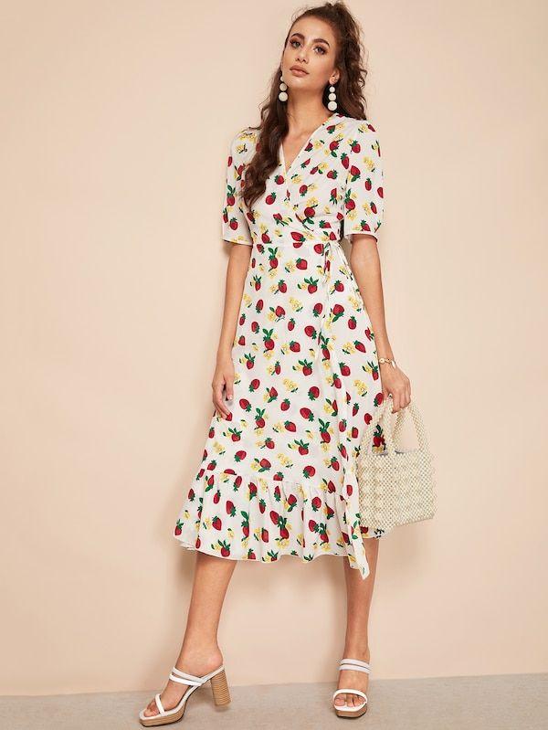 06abf7498dd Strawberry Print Flounce Hem Surplice Wrap Dress