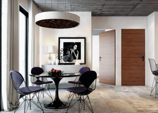 Einrichtungsideen Fuer Esszimmer Elegant Metall Moebel Rund Glastisch  Essbereich