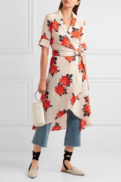 GANNI | Harness floral-print silk crepe de chine wrap dress | NET-A-PORTER.COM