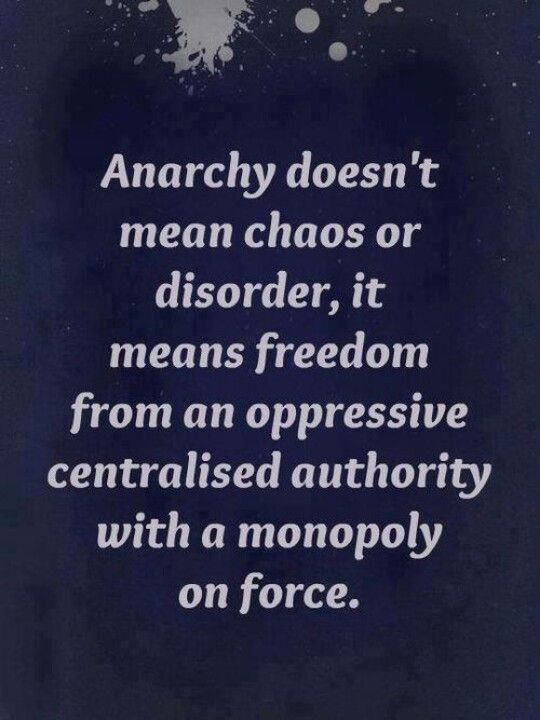 ANARCHY DOESN'T MEAN CHAOS OR DISORDER, IT MEANS FREEDOM FROM AN OPPRESSIVE CENTRALIZED AUTHORITY WITH A MONOPOLY ON FORCE.