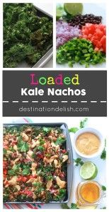 Loaded Kale Nachos | Destination Delish - a vegan, gluten free, and completely indulgent appetizer recipe using kale chips, fresh veggies, and a decadent cashew nacho cheese sauce