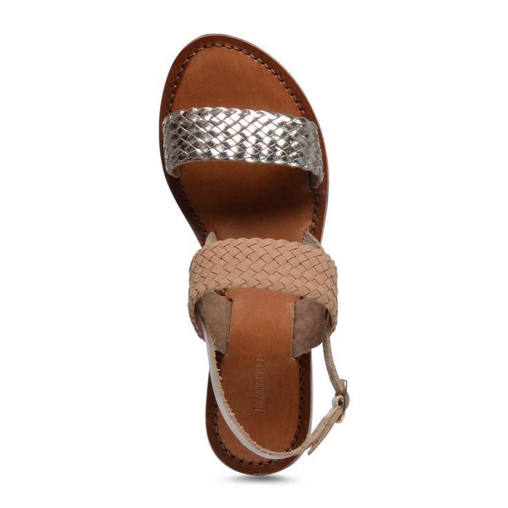 Cognac kleurige sandalen met metallic details | Dames  | MANFIELD