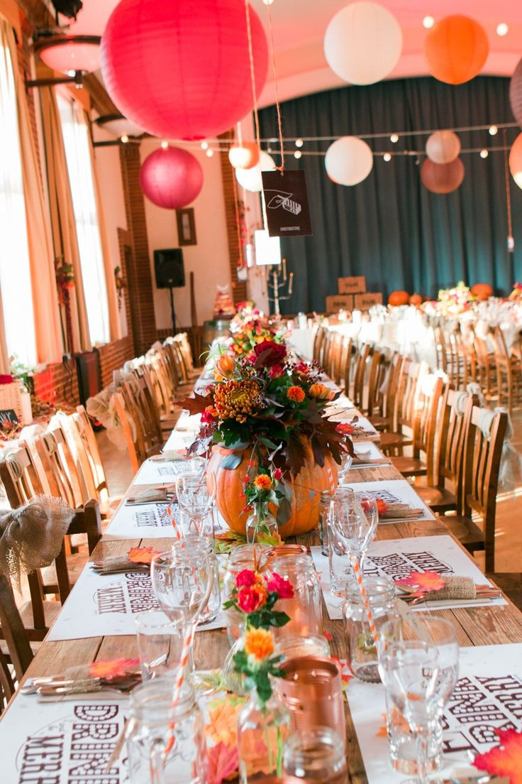 Village Hall Lanterns Festoon Lights Long Tables Rustic Autumn Halloween Wedding http://www.samrileyphotography.co.uk/