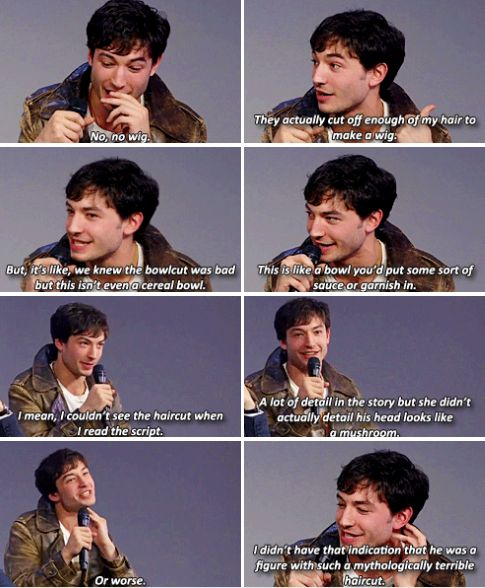 Ezra Miller talking about his Fantastic Beasts' haircut