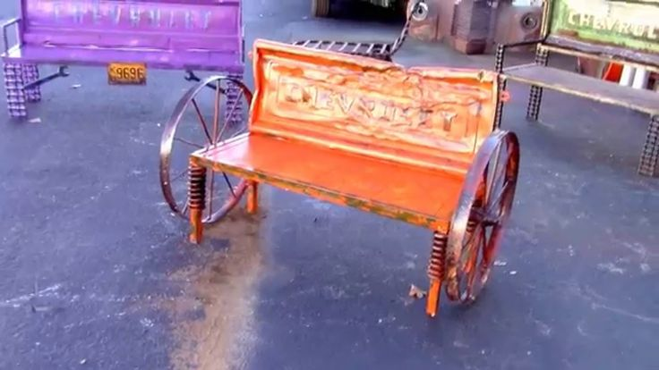 Rustic Benches With Steel Wheels : Best diy metal art ideas images on pinterest