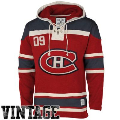 Old Time Hockey Montreal Canadiens Lace Jersey Team Hoodie - Red