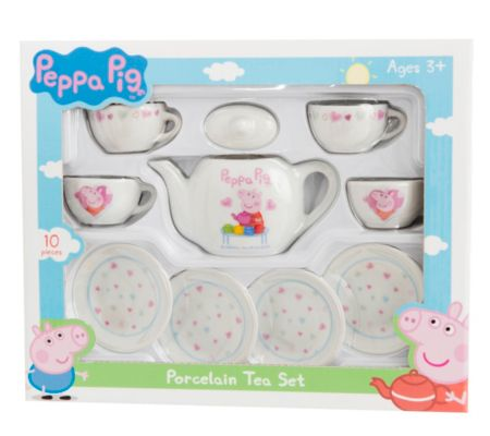 Peppa Pig Porcelain Tea Set 1372462 10 piece porcelain tea set featuring fun Peppa Pig design. Set comprises of 4 tea cups, 4 saucers and tea pot with lid. (Barcode EAN=5050837246213) http://www.comparestoreprices.co.uk/childs-toys/peppa-pig-porcelain-tea-set-1372462.asp